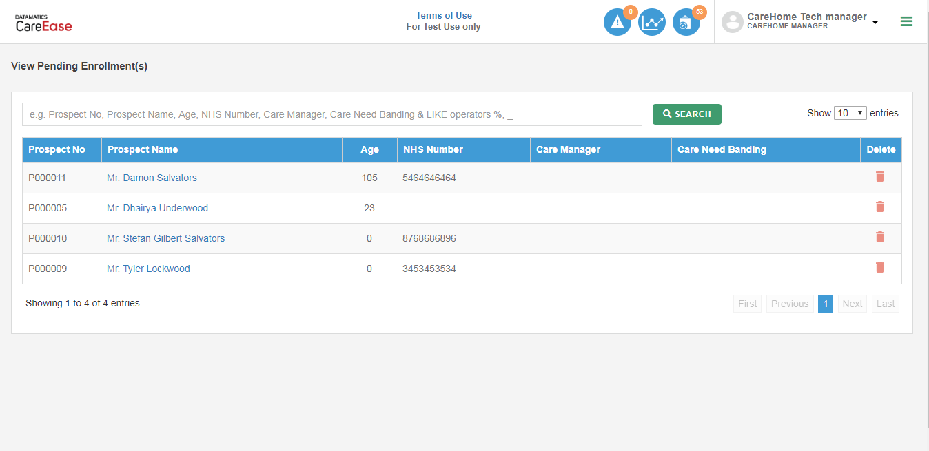 CareEase Admin Add-Ons screen